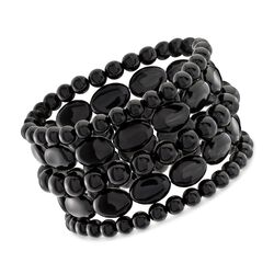 Black Agate Jewelry Set: Five Bead Stretch Bracelets, , default