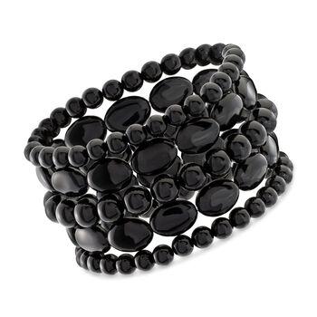 Black Agate Jewelry Set: Five Bead Stretch Bracelets, , default