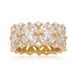 7.65 ct. t.w. Multi-Cut CZ Floral Eternity Band in 18kt Gold Over Sterling, , default