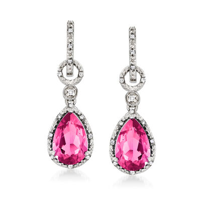 7.55 ct. t.w. Pink Topaz and .16 ct. t.w. Diamond Drop Earrings in Sterling Silver