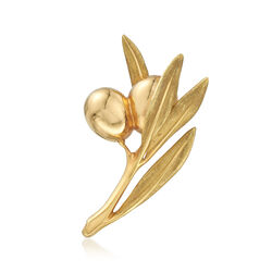 C. 1980 Vintage Tiffany Jewelry 18kt Yellow Gold Floral Berry Pin, , default
