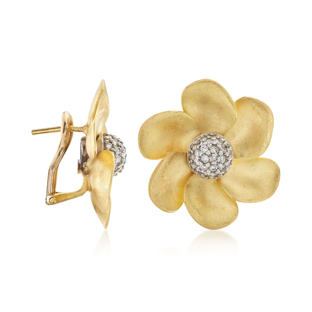 C 1990 Vintage 50 Ct Tw Diamond Floral Earrings In 18kt Yellow