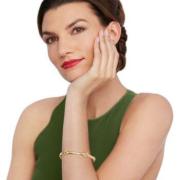 "Italian Andiamo 14kt Yellow Gold Knot Station Bangle Bracelet. 7.5"", , default"