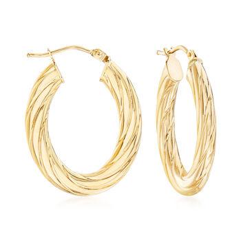 "Italian Fluted 14kt Yellow Gold Oval Hoop Earrings. 1"", , default"