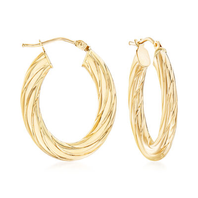 Italian Fluted 14kt Yellow Gold Oval Hoop Earrings, , default