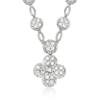 "4.60 ct. t.w. Diamond Clover Drop Necklace in 14kt White Gold. 16"", , default"