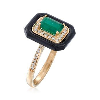 1.00 Carat Emerald and Black Onyx Ring With .20 ct. t.w. Diamonds in 18kt Yellow Gold, , default