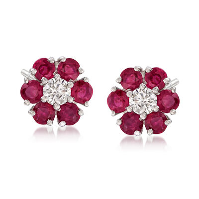 1.60 ct. t.w. Ruby and .26 ct. t.w. Diamond Floral Earrings in 14kt White Gold, , default
