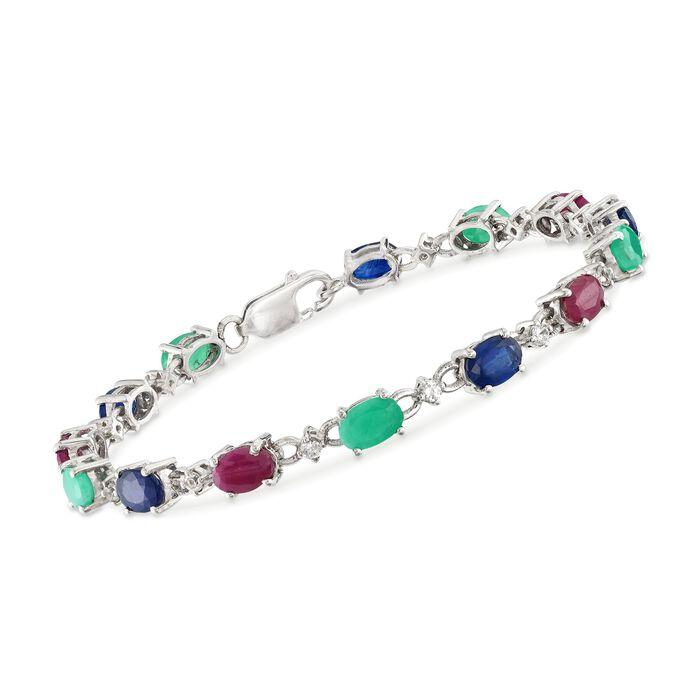 9.60 ct. t.w. Multi-Stone Tennis Bracelet in Sterling Silver, , default