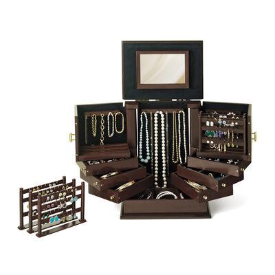 """""""Safekeeper Deluxe II"""" Wooden Jewelry Organizer"""