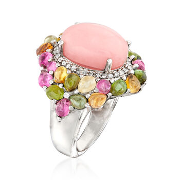 Opal and 4.80 ct. t.w. Multi-Gemstone Ring in Sterling Silver