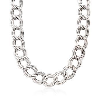 Italian Sterling Silver Double Link Necklace, , default