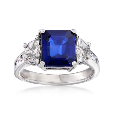 3.10 Carat Sapphire and 1.03 ct. t.w. Diamond Ring in 18kt White Gold, , default