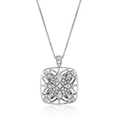 C. 2000 Vintage .48 ct. t.w. Diamond Floral Pendant Necklace in 18kt White Gold