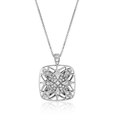 C. 2000 Vintage .48 ct. t.w. Diamond Floral Pendant Necklace in 18kt White Gold, , default
