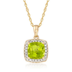 "1.50 Carat Peridot Necklace With Diamond Accents in 14kt Yellow Gold. 18"", , default"