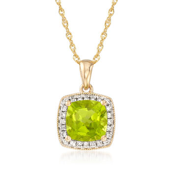 """1.50 Carat Peridot Pendant Necklace With Diamond Accents in 14kt Yellow Gold. 18"""", , default"""