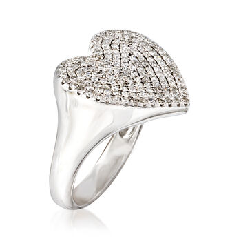 .50 ct. t.w. Pave Diamond Heart Pinky Ring in 14kt White Gold, , default