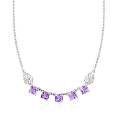 9.25 ct. t.w. Amethyst Necklace with Scrolled Sides in Sterling Silver, , default