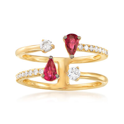.50 ct. t.w. Ruby and .28 ct. t.w. Diamond Ring in 18kt Yellow Gold