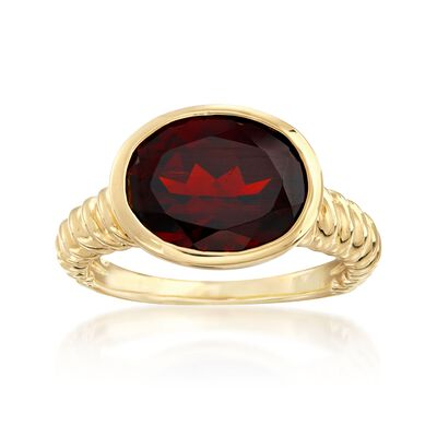 5.00 Carat Oval Garnet Ring in 18kt Gold Over Sterling, , default