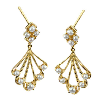 1.5-2mm Cultured Pearl Fan Drop Earrings in 14kt Yellow Gold