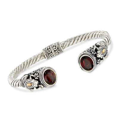 3.00 ct. t.w. Garnet and Two-Tone Sterling Silver Frog Cuff Bracelet