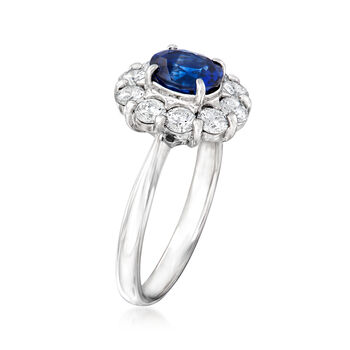 C. 1990 Vintage 1.13 Carat Sapphire and .74 ct. t.w. Diamond Ring in Platinum. Size 5.5, , default