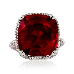 C. 2000 Vintage 22.50 Carat Garnet and 1.00 ct. t.w. Diamond Ring in 18kt White Gold. Size 6.5, , default