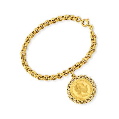 C. 1980 Vintage 18kt and 24kt Yellow Gold Austrian Coin Bracelet