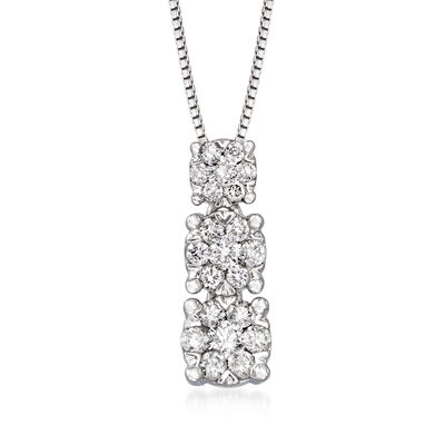 .40 ct. t.w. Diamond Cluster Graduated Pendant Necklace in 14kt White Gold