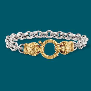 .20 ct. t.w. Garnet Double Lion Head Bracelet in Two-Tone Sterling Silver, , default