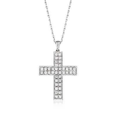 1.00 ct. t.w. Diamond Double-Row Cross Pendant Necklace in Sterling Silver
