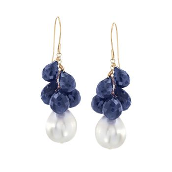 10-11mm Cultured Pearl and Blue Corundum Drop Earrings in 14kt Yellow Gold , , default