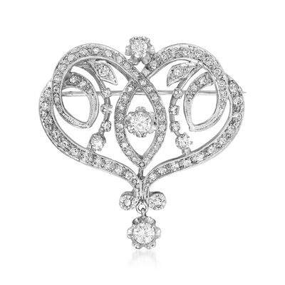C. 1970 Vintage 1.75 ct. t.w. Diamond Fancy Pin/Pendant in 14kt White Gold, , default