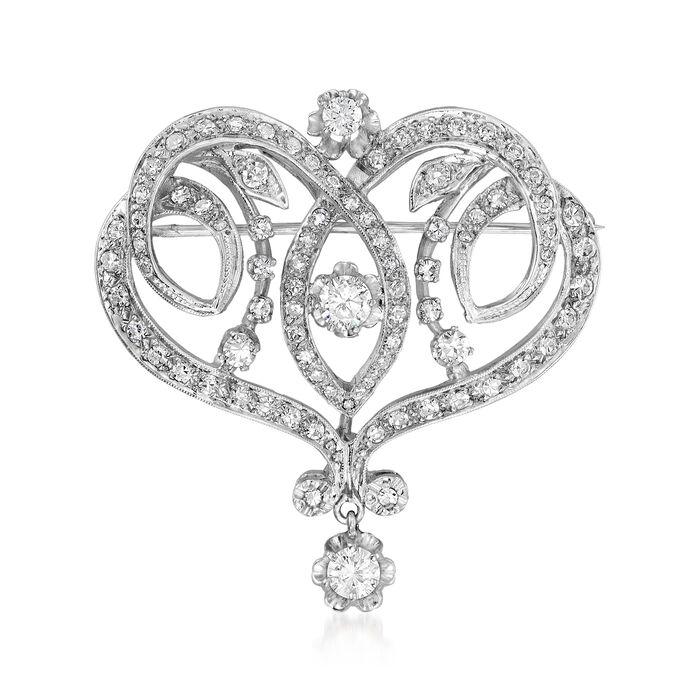 C. 1970 Vintage 1.75 ct. t.w. Diamond Fancy Pin/Pendant in 14kt White Gold