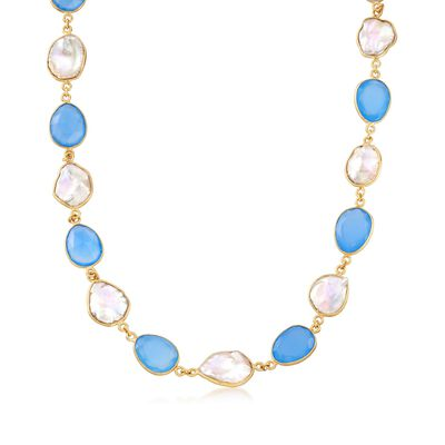 Blue Chalcedony and Cultured Keshi Pearl Necklace in 18kt Gold Over Sterling, , default