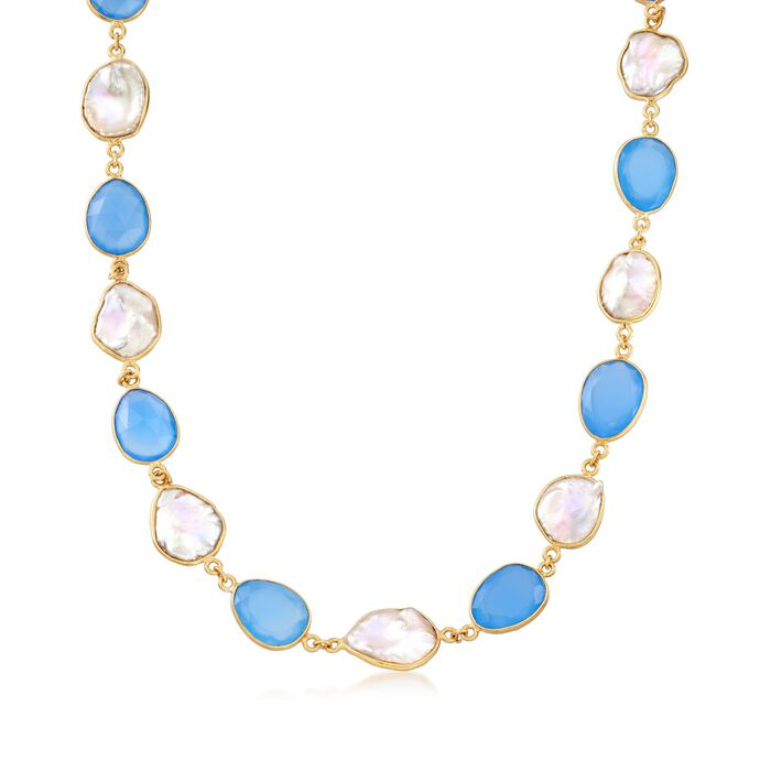 Blue Chalcedony and Cultured Keshi Pearl Necklace in 18kt Gold Over Sterling