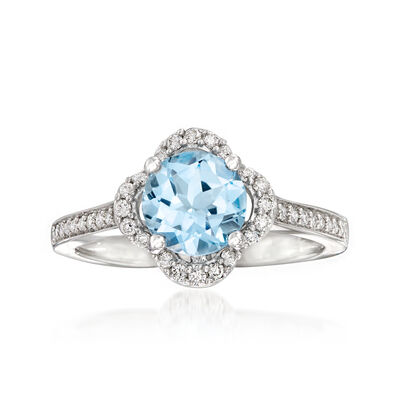 1.50 Carat London Blue Topaz and .25 ct. t.w. Diamond Ring in 14kt White Gold, , default