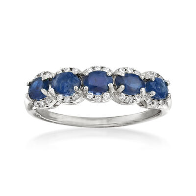 1.20 ct. t.w. Sapphire and .10 ct. t.w. White Zircon Ring in Sterling Silver