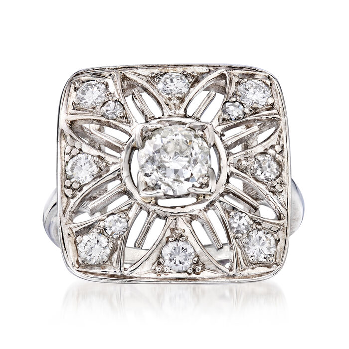 C. 1950 Vintage 1.05 ct. t.w. Diamond Cut-Out Flower Ring in Platinum. Size 5