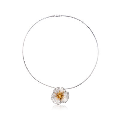 Sterling and 18kt Gold Over Sterling Flower Pendant Necklace