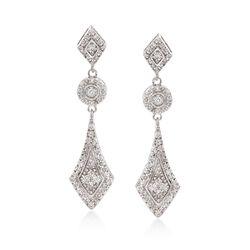.50 ct. t.w. Diamond Vintage-Style Drop Earrings in 14kt White Gold, , default