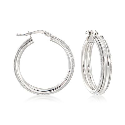 Italian Sterling Silver Hoop Earrings with Silvertone Glitter, , default