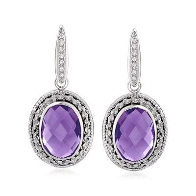 Italian 11.00 ct. t.w. Amethyst and .14 ct. t.w. CZ Drop Earrings in Sterling Silver, , default