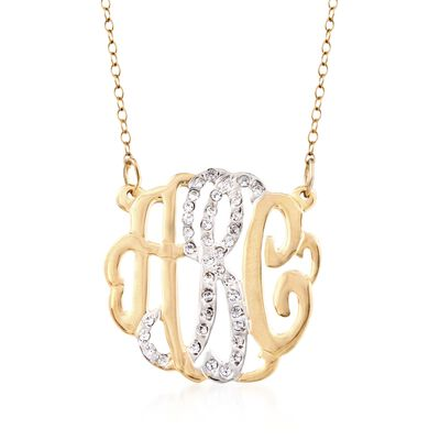 .15 ct. t.w. CZ Monogram Pendant Necklace in Two-Tone Sterling Silver, , default