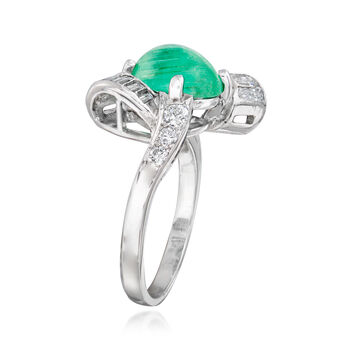 C. 1970 Vintage 1.85 Carat Emerald and .60 ct. t.w. Diamond Ring in 14kt White Gold. Size 6, , default