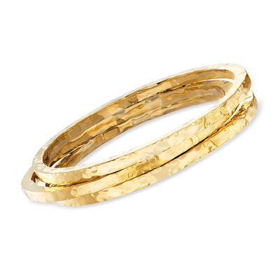 Italian 24kt Gold Over Sterling Silver Jewelry Set: Three Hammered Bangle Bracelets, , default