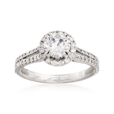 .54 ct. t.w. Diamond Halo Engagement Ring Setting in 14kt White Gold, , default