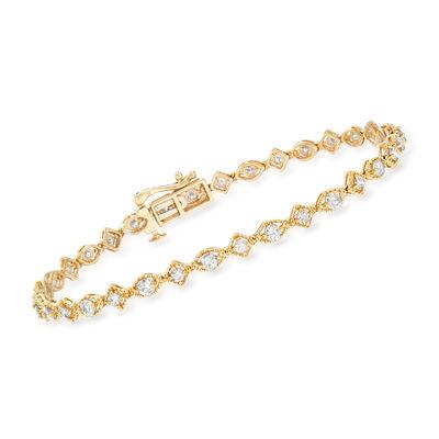 2.00 ct. t.w. Diamond Alternating Bracelet in 14kt Yellow Gold